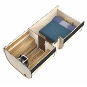 bild 5m Badstutønne for 6 Pers. med omkledningsrom og mulighet for stor seng
