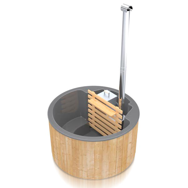 bilde 1 badestamp for 3 pers i glassfiber med innvendig ovn