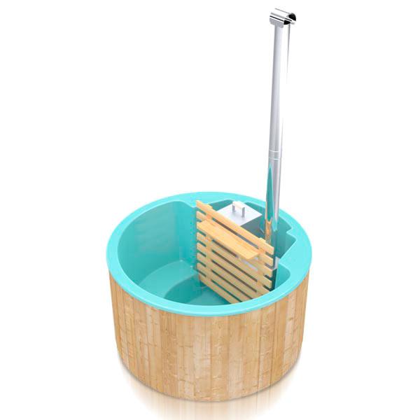 bilde 3 badestamp for 3 pers i glassfiber med innvendig ovn